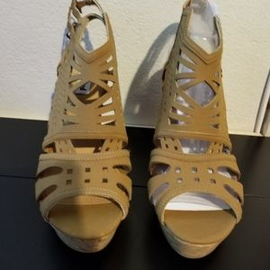 b2eb9d12c3ca Not Rated Shoes - Not Rated Elysium Platform Tan Wedges